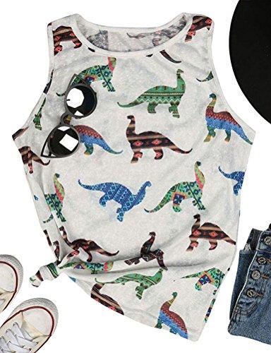DRESSWEL Mujeres Dinosaurio de Dibujos Animados Lindo Impreso Tank Tops Verano Sin Mangas Cami Tops Tank Shirts