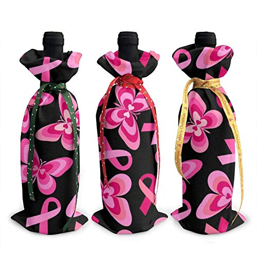 3pcs Wine Bottle Bags,Breast Cancer Ribbon Pink Butterfly Pattern Christmas Tote Bag,Party Favors,Christmas