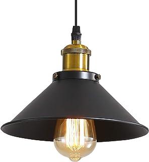Suspension Luminaire Industrielle Lustre Plafonnier Noir, Φ22 cm pour ampoules E27 Lustre Plafonnier Vintage Culot Abat-jo...