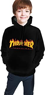 Thra-sher Flame Magazine Logo Teen Hooded Sweate Sweatshirt Cool Pullover Hoodies for Boys Girls Black