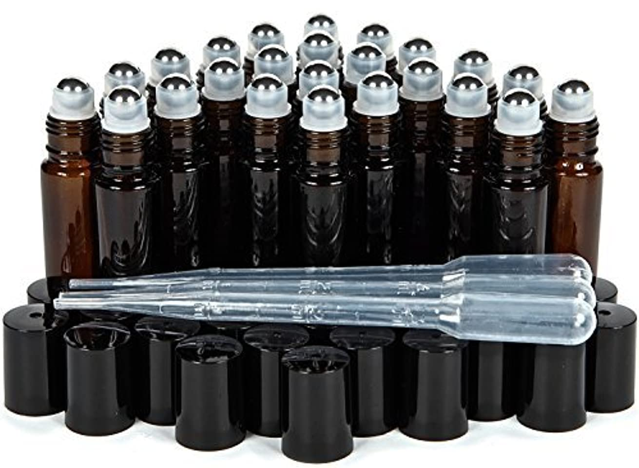 毎年どういたしまして入るVivaplex, 24, Amber, 10 ml Glass Roll-on Bottles with Stainless Steel Roller Balls. 3-3 ml Droppers included [並行輸入品]
