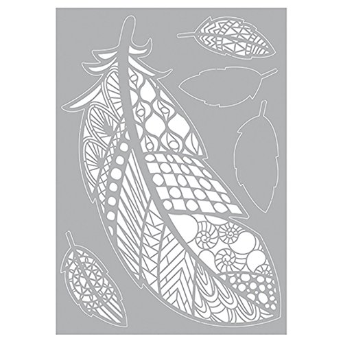 efco, Federn Ornamente Stencil, Kunststoff, weiß, 29,7 x 21 x 0,1 cm