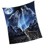#heulender Wolf #Mond #blau-schwarz  130x150 oder 150x200 cm