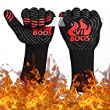 BBQ Grill Gloves, 1472℉ Extreme Heat Resistant Grilling Gloves for Cooking, Baking and for Smoker, Silicone Insulated Cooking Oven Mitts, 13 inch Long Non-slip Potholder Gloves,1 Pair (Black & Red)