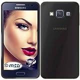 mtb More Energy® Funda para Samsung Galaxy A3 (SM-A300, 4.5'') - Negro-Transparente - Flexible - Delgada - Gel TPU Silicona Carcasa Suave Cascara