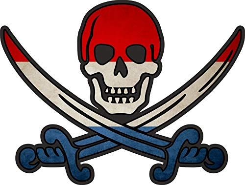 Akachafactory Sticker Aufkleber Pirat Piraten Jack Rackham Calico Flagge Fahne NL niederlande