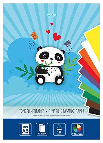 Stylex 46724 - Tonzeichenpapier, DIN A3, 120 g/m², 10 Blatt sortiert in 10 verschiedenen Farben, zum Basteln, Schneiden und Kleben