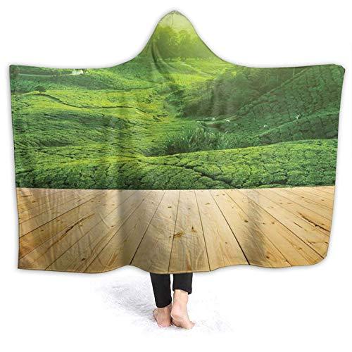 YOUMEISU Manta con Capucha,Las plantaciones de té de Las Tierras Altas Desde la Perspectiva del balcón de Madera del Amanecer en la mañana temprano con Niebla,Manta Cálida Invierno 130x150cm