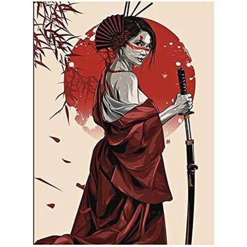 Japón Geisha chica guerrera carteles de seda modernos lienzo pintura cuadro de arte de pared para sala de estar decoración del hogar-24x36in sin marco