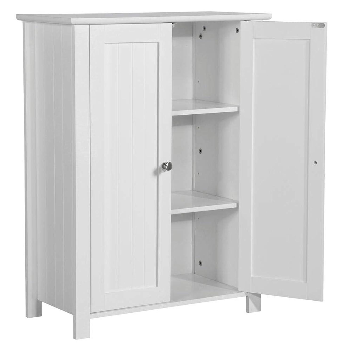 "Topeakmart 31.5""H Bathroom Floor Cabinet Free Standing 2-Door Storage Cabinet with 2 Adjustable Shelves, Anti-toppling Design, White qs350512197090"