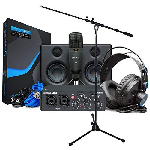 Presonus Audiobox USB 96 Ultimate Bundle Recording Set per canto Nero + Supporto microfono Keepdrum