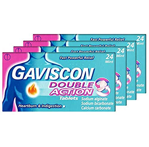 Gaviscon Heartburn and Indigestion Tablets, Double Action, Mint Flavour, Pack of 4 x 24, 96 Tablets Total