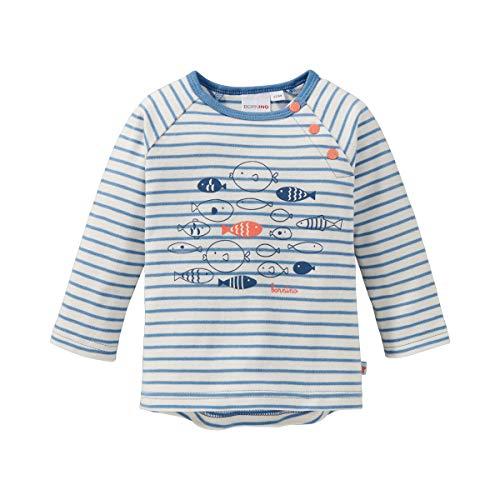 Bornino T-shirt raglan manches longues poisson top bébé vêtements bébé, écru/bleu