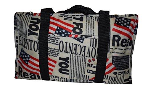 drapeau états-unis JOURNAL MAGAZINE imprimé mode SOYEUX STYLE Mesdames shopping pendant la nuit Sac à main fourre-tout du week-end - par fat-cat-copy-catz