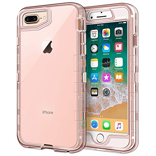 iPhone 8 Plus Case, iPhone 7 Plus Case, Anuck Crystal Clear 3 in 1 Heavy Duty Defender Shockproof Full-body Protective Case Hard Shell & Soft TPU Bumper Cover for iPhone 7 Plus/8 Plus, Clear Rose Gold