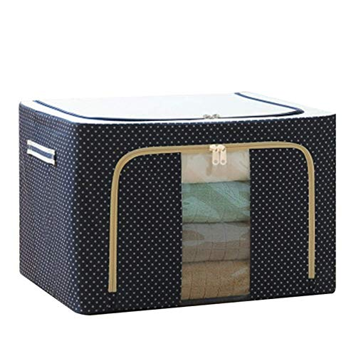 ADICOM Clothes Storage Bag Organizer with Zips,Oxford Fabric Storage Box with Steel Frame for Clothes Bed Sheets Blanket 39x29x20cm Blue Dot