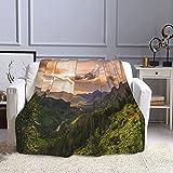 Montana Mountains Ravine Valley - Manta de forro polar para cama, manta de franela para sofá de cama de 127 x 152 cm