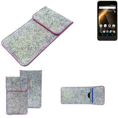 K-S-Trade Handy Schutz Hülle Für Allview P6 Energy Mini Schutzhülle Handyhülle Filztasche Pouch Tasche Hülle Sleeve Filzhülle Hellgrau Pinker Rand