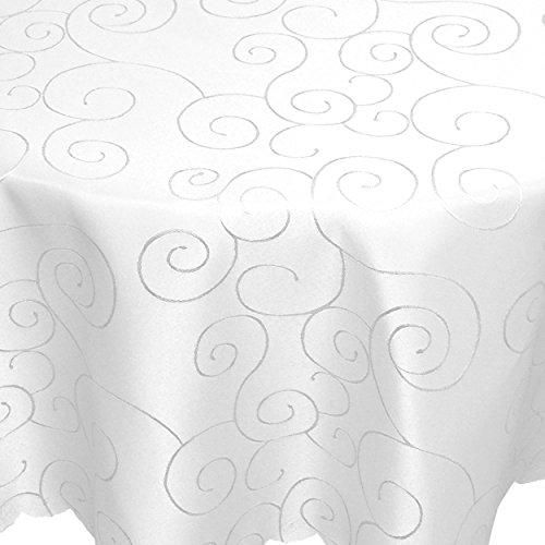 Tischdecke Damast Ornamente 160x220cm oval Weiss
