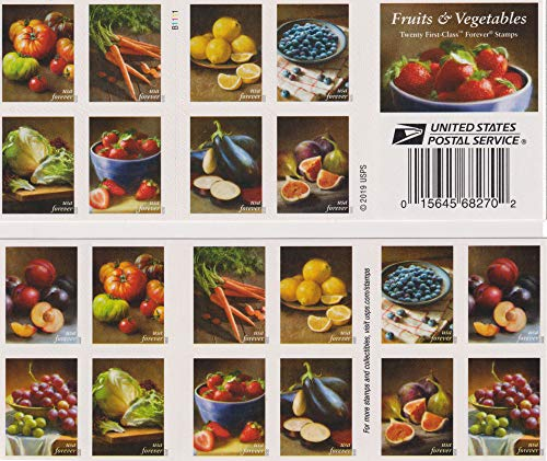 Generic and Vegetables First-Class Mail Forever Stamps in a Booklet of 20