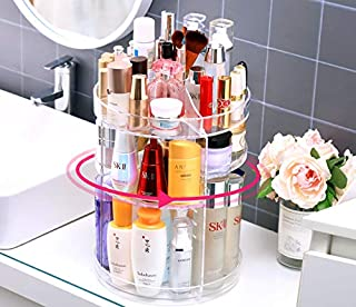 Sooyee 360 Degree Rotating Makeup Organizer, Clear Acrylic Adjustable Multi-Function Large Capacity Cosmetic Display Storage Box Display Holder Case Stand