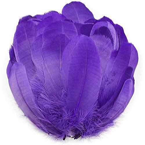 Purple Goose Feathers for Crafts, Costumes, Decorations (6-8 in, 100 Pieces)