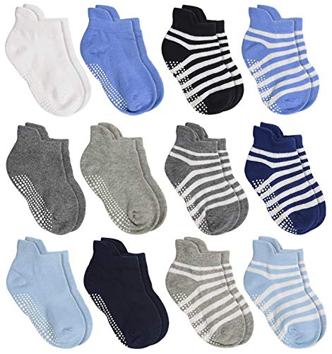 Aminson Anti Slip Non Skid?Ankle Socks With Grips , 12 Pairs Assorted, 12-36 Months