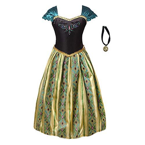 FONLAM Vestido Disfraz de Princesa Fiesta Niña Ceremonia Vestido Bordado Infantil Cumpleaños Niña Carnaval (5-6 Años)