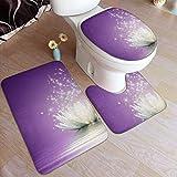JOOMI Juego de alfombras de baño de 3 Piezas Lotus Flower Purple Alfombra de baño Antideslizante Alfombrilla Antideslizante Alfombrilla de baño Contorno en Forma de U Tapa de Inodoro Juego de alfombr