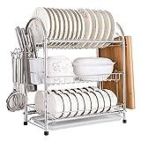 Estante de Almacenamiento de Cocina Multifuncional Estante para Platos Soporte para Utensilios Cocina Grande Escurridor de Platos de 3 Niveles para Platos Bloque de Picar Cuchillo y Tenedor Acero in
