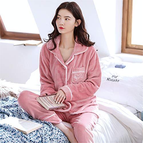 Weiche Damen Pyjamas, Dicke Bademäntel aus Korallenvlies, warme Hauskleidung für Herbst und Winter Größen A24 M