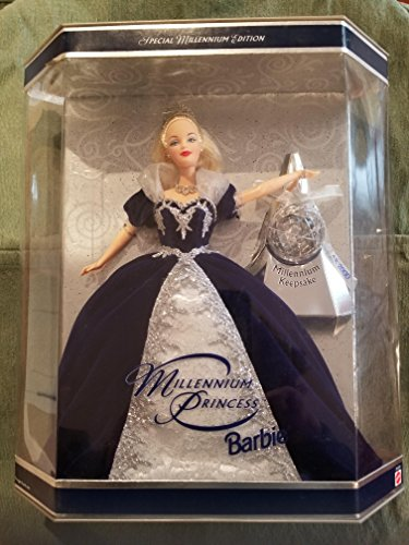 Holiday Barbie Special Edition Millennium Princess Mattel Year 1999 2000 with Swirl Background Inside Box