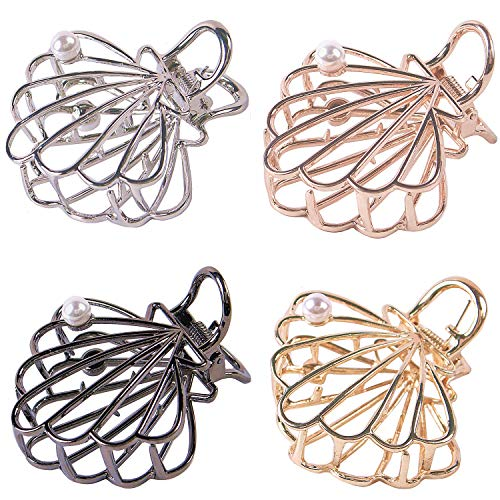 TANG SONG 4PCS Metal Hair Claw Clips Hair Catch with Plastic Pearl Barrette Jaw Clamp for Women Half Bun Hairpins for Thick Hair(Silver+Gold+Rose Gold+Black)