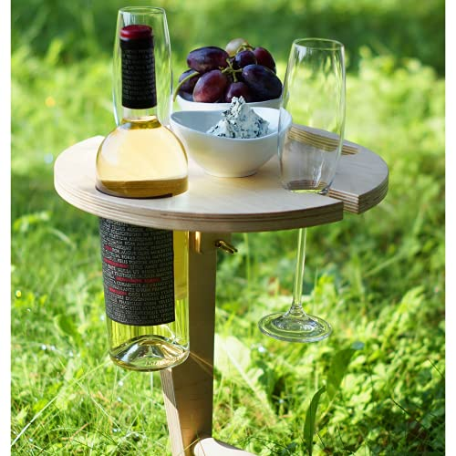 Weinregal Holz für Picknick mit klappbarer Platte, Picknicktisch mit bequemer Koffer, Wein Geschenk Idee, Campingtisch Outdoor Tisch, Camper, Wanderer, Weinliebhaber