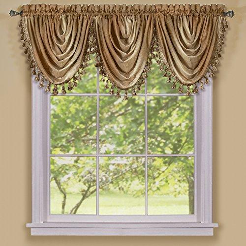 "Achim Home Furnishings Ombre Waterfall Window Curtain Valance, 46"" x 42"", Sandstone"