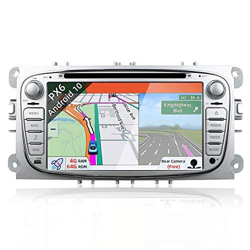 PX6 Android 9 Autoradio estéreo Compatible con Ford Focus/Mondeo/S-Max/C-Max/Galaxy - 4G+64G A72 Cortex - LIBRE Canbus & Cámara - WiFi BT-4.0 SWC HDMI 4K Video 4G DAB Mirror Link -GPS 2 Din 7 pulgadas
