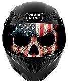 V33 American Flag Skull VISOR TINT DECAL Graphic Sticker Helmet Fits: Icon Shoei Bell HJC Oneal Scorpion AGV