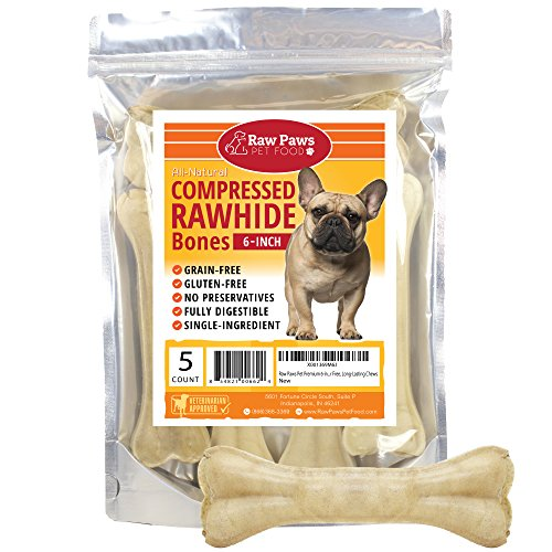 Raw Paws Pet Premium 6-inch Compressed Rawhide Bones for Dogs, 5-Count -...