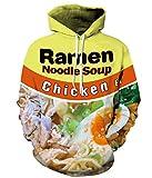 PIZOFF Unisex Ramen Noodle Hoodie Pockets 3D Pullover Hoodie Drawstring Hooded Sweatshirts Hoodies AM006-01-XL