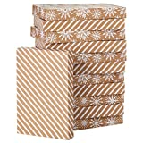 Hallmark Kraft Shirt Box Bundle (12 Boxes: White Snowflakes and Stripes on Kraft) for Christmas, Hanukkah, Birthdays, Weddings and More