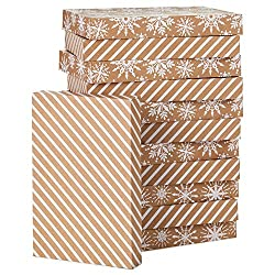 Hallmark Kraft Shirt Box Bundle (12 Boxes: White Snowflakes and Stripes on Kraft) for Christmas, Han