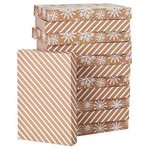 Hallmark Kraft Shirt Box Bundle (12 Boxes: White Snowflakes and Stripes on Kraft) for Christmas, Hanukkah, Birthdays, Weddings and More