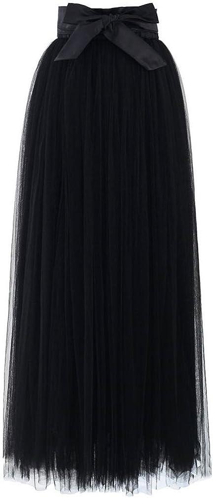 Lisong Women Long Floor Length Bowknot Tulle Party Prom Skirt