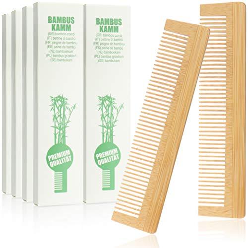 com-four® 10x Haarkamm aus Bambus - Holzkamm - feingezahnter Frisierkamm - handlicher und robuster Taschenkamm - 13,5 cm (10-teilig Kämme)