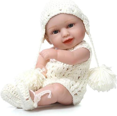 IIWOJ Mini Reborn Baby Doll Big-Eyed Silicone Girl Doll 27Cm Photography Props