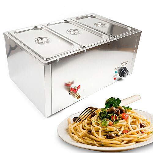 3 x 7 L Chauffe-plats électrique en acier inoxydable - Récipient de maintien au chaud - Réchauffe-plats avec robinet d'écoulement et couvercle pour buffet de traiteur, température réglable