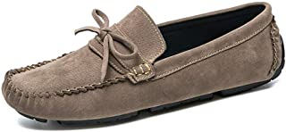 Shhdd Simple and classic drive loafers man mediocre rhythm toe slip shoes microfiber leather slip suede Comfort lining Bowknot (Color : Khaki, Size : 44 EU)