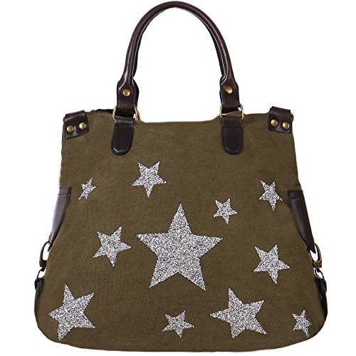 FASHION YOU WANT Handtasche Glamoustar Henkeltasche mit Glitzer Stern (T17)