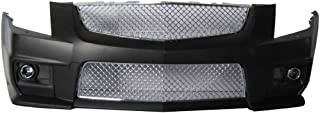 Front Bumper Cover Compatible With 2008-2013 Cadillac CTS | V-Style PP Front Bumper Conversion Guard Protector Mesh Grille Chrome by IKON MOTORSPORTS | 2009 2010 2011 2012