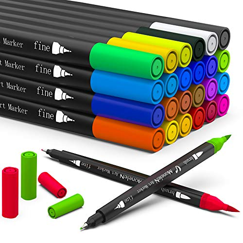 Coloring Markers for Adult Coloring Books Fine Tip 24 Dual Brush Pens Colored Thin Marker Set for Adults Kids Teen School Office Art Writing Sketch Drawing Water Based Double Sided Color Felt Pen